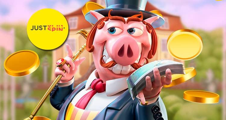 Gratis spins bij Justspin Casino op Piggy Riches